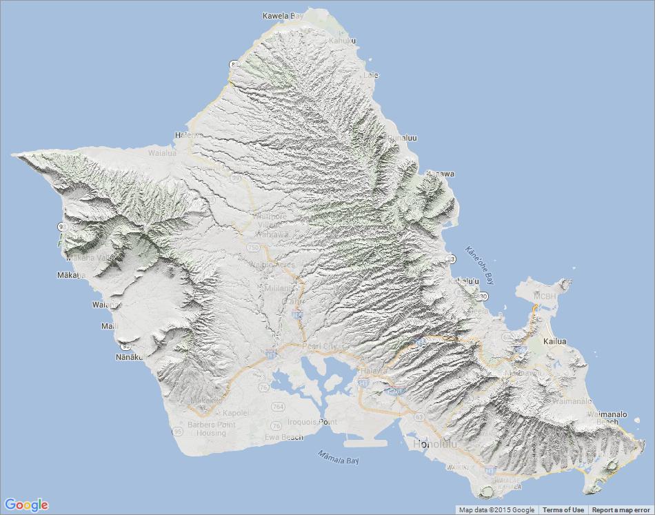 Topographic Map Oahu.Usgs 10 M Digital Elevation Model Dem Hawaii Oahu Hillshade