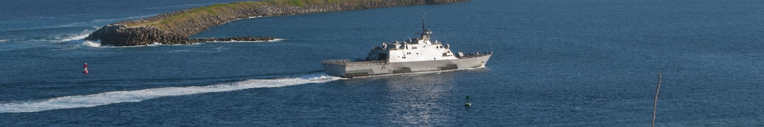 141211-N-ZI019-058 SANTA RITA, Guam (Dec. 11, 2014) The  littoral combat ship USS Fort Worth (LCS 3) enters Apra Harbor for a port visit on U.S. Naval Base Guam. This is Fort Worth's first visit to the island during its 16-month rotational deployment in support of the Indo-Asia Pacific rebalance. (U.S. Navy photo by Leah Eclavea/Released)